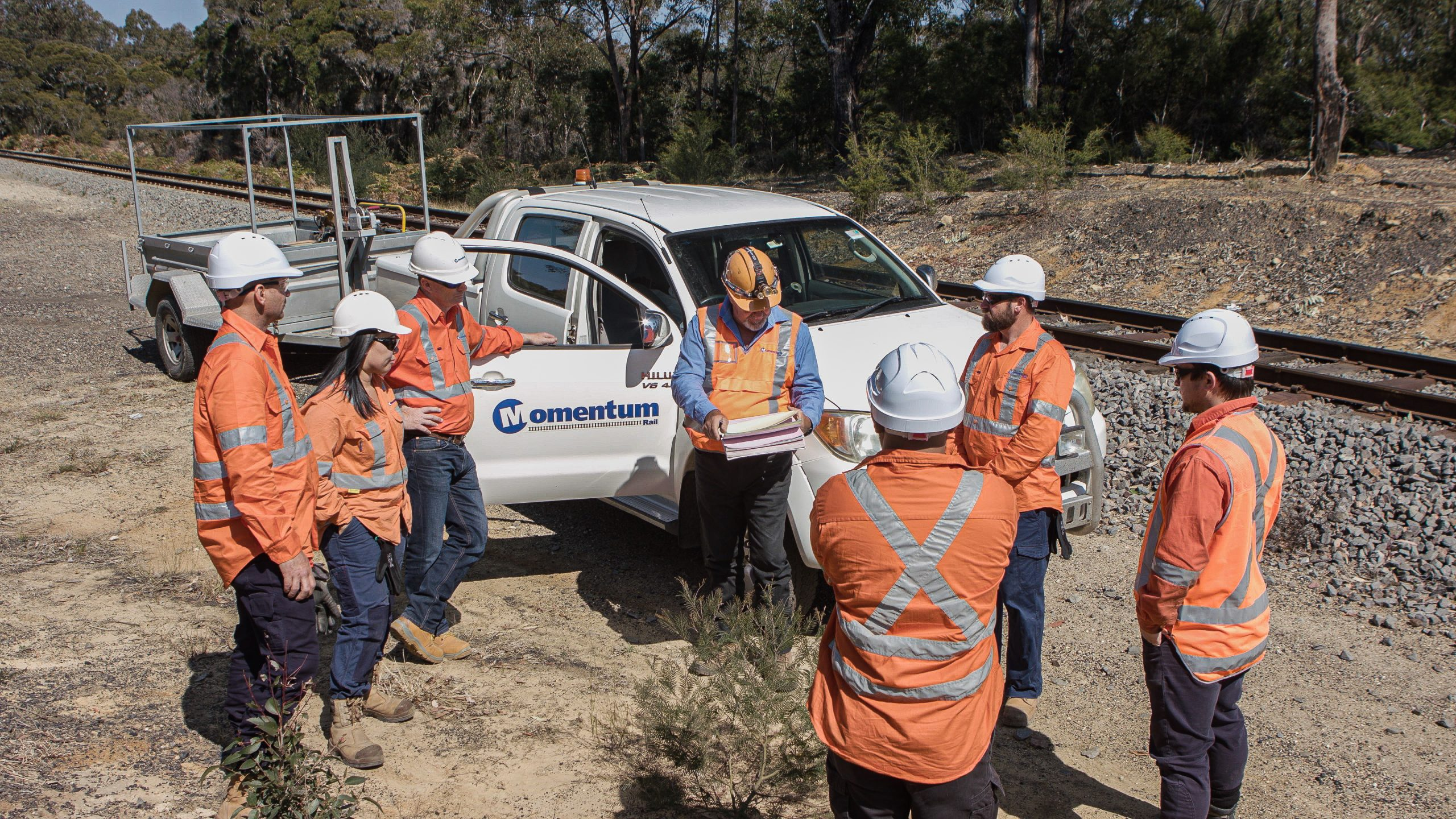 Momentum safeworking team completing site brief on the Gawler Rail Electrification Project
